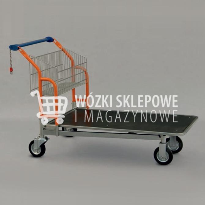 Wózki sklepowe z platformą drewnianą