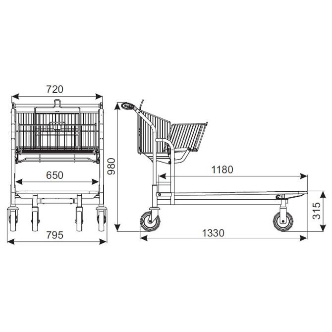 Wózki sklepowe z platformą
